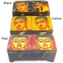 Hand Painted Buddha Face Double Lock Box (Thailand)