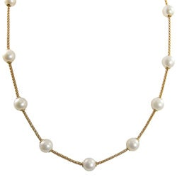 Pearls For You 14k Gold White FW Pearl Necklace (8-8.5 mm)