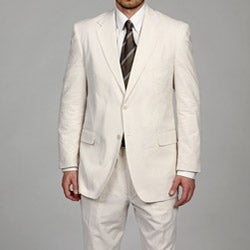 Adolfo Men's Tan/White 2-button Seersucker Suit FINAL SALE
