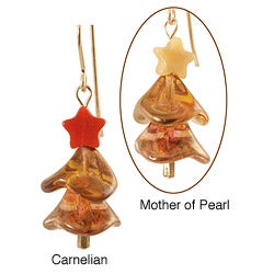 14k Gold Fill 'Twinkling Amber' Gemstone Holiday Tree Earrings