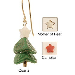 14k Gold Fill 'Evergreen' Gemstone Holiday Tree Earrings