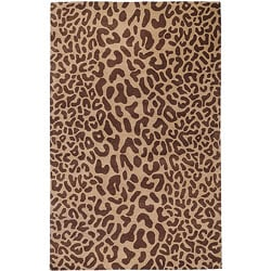 Hand-tufted Tan Leopard Whimsy Brown Animal Print Wool Rug (5' x 8')