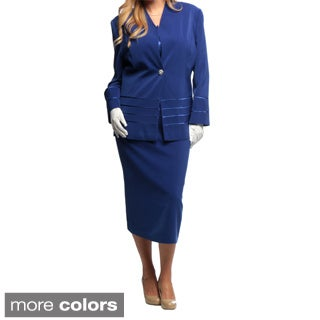 Divine Apparel Women's Extended Plus Size 3-piece Skirt Suit