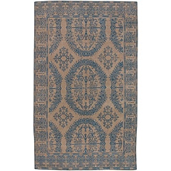 Hand-knotted Andes Taupe Wool Rug (5' x 8')