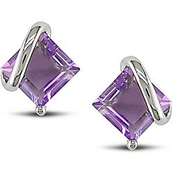 Sterling Silver Square-cut Amethyst Earrings