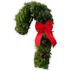Fresh 30-inch Balsam Pine Candy Cane Wreath