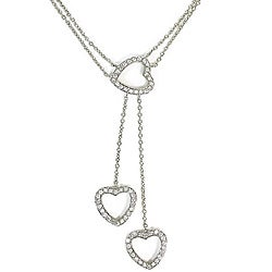 Sterling Silver Clear Cubic Zirconia Three Heart Necklace