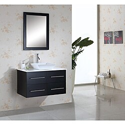 Helen 36-inch Espresso Single-sink Bathroom Vanity with Mirror