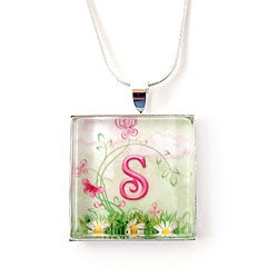Silverplated Personalized Floral and Whimsy Monogram Necklace