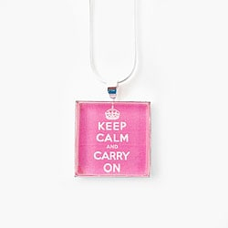 Silverplated Pink 'Keep Calm and Carry On' Necklace