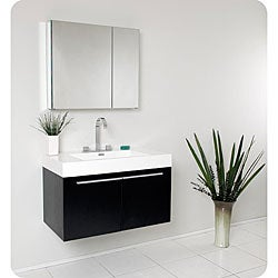 Fresca Vista Black Bathroom Vanity with Medicine Cabinet