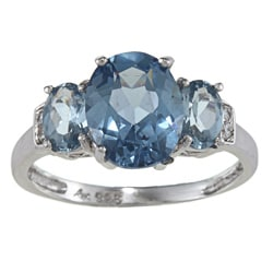 Sterling Essentials Sterling Silver Sky Blue Cubic Zirconia Ring