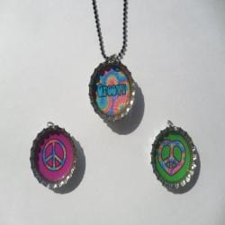 Groovy Peace Bottle Cap Necklace Set