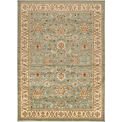 Loomed Free Form Seafoam Border Rug (5'3 x 7'6)