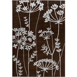 Loomed Replica Brown Floral Rug (5'3 x 7'6)