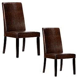 Warehouse of Tiffany Brown Crocodile Leather Dining Chairs (Set of 2).