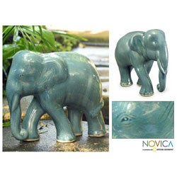 Celadon Ceramic 'Blue Elephant' Sculpture (Thailand)
