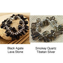 Tibetan Silver Bettina B 8 Black Gemstone Bracelet