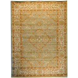 Indo Hand-Tufted Green/ Beige Wool Rug (5' x 8')