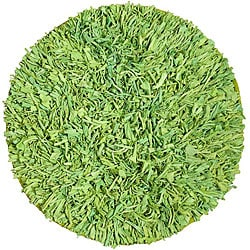 Handmade Green Cotton Shag Rug (4'9 Round)