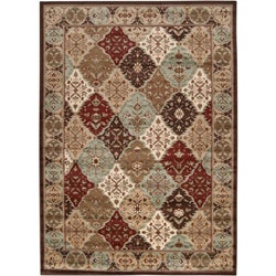 Loomed Free-form Chocolate Geometric Rug (5&#39;3 x 7&#39;6)
