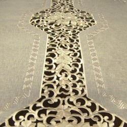 Roman Two-tone Embroidered 72x126-inch Formal Tablecloth