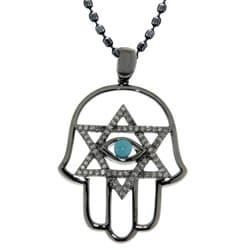 Black Silver Turquoise and 1/4ct TDW Diamond Hamsa Necklace (J, I2-I3)