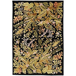 Hand-knotted Contemporary Neoteric Black Wool Floral Rug (5' x 8')