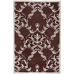 Hand-knotted Neoteric Brown Damask Print Wool Rug (5' x 8')