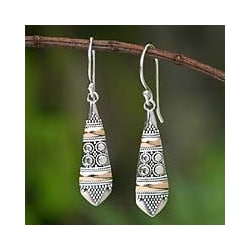 Sterling Silver Gold Accent 'Fireflies' Dangle Earrings (Indonesia)