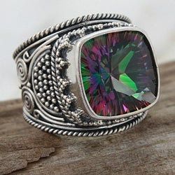 Sterling Silver Square Exotic Fire Quartz Monarch Ring (Indonesia)