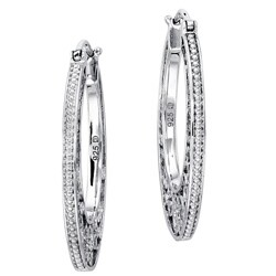 Sterling Silver Diamond Accent Filigree Hoop Earrings
