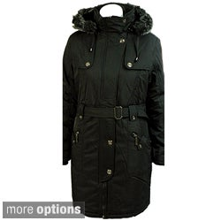 E-Niqi Women's Asymmetrical Faux Fur Hooded Coat