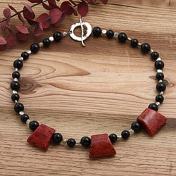 Silverplated Point of Origin Coral and Onyx Necklace