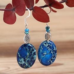 Silverplated Blue Hawaii Variscite Earrings