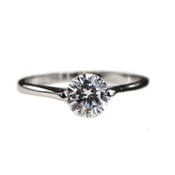 NEXTE Jewelry Silvertone Clear Cubic Zirconia Solitaire Ring