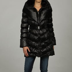 1 Madison Women's Belted Faux Fur Trim Puffer Coat