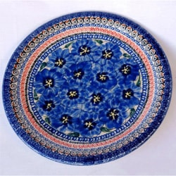 Ceramic Stoneware Blue and Yellow 10.75-inch Dinner Plate (Poland)