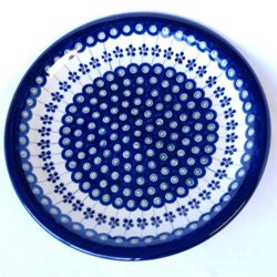 Ceramic Stoneware Blue and White 10.75-inch Dinner Plate (Poland)