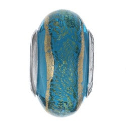 Signature Moments Sterling Silver Goldine Aqua Murano Glass Bead