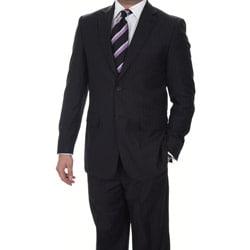 Ferrecci Men's Slim Fit Navy Pinstripe Suit