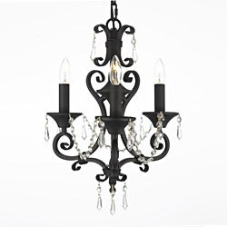 Regent 3-light Black Crystal Mini Chandelier