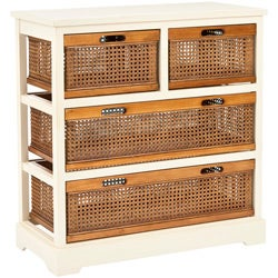 York 4-drawer White Storage Cabinet
