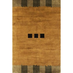 Hand-knotted Semi-worsted Gold New Zealand Wool Rug (6' x 9')