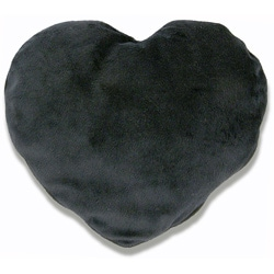 Soothera Black Furry Plush Hot and Cold Therapy Heart Pillow