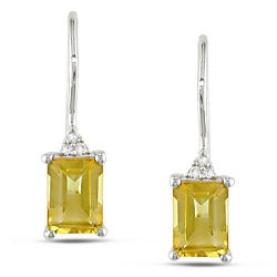 Miadora Sterling Silver Citrine and Diamond Earrings