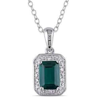 Miadora Sterling Silver Created Emerald and Diamond Accent Necklace