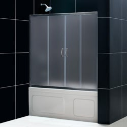 DreamLine Visions 60x58-inch Frosted Glass Sliding Tub Door