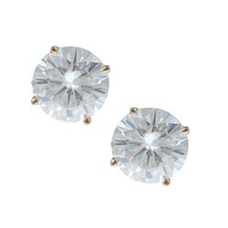 14k Yellow Gold Round-cut Moissanite Stud Earrings