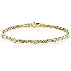 14k Yellow Gold 1/10ct TDW Diamond Bracelet (G-H, SI1-SI2)
